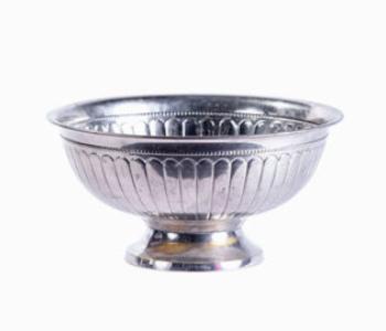 Round metal vase
